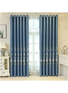 Fresh Style Blue Embroidered Floral Decorative Custom Curtain Panels