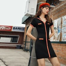 Single Breasted Contrast Striped Trim Sweater Dress