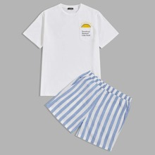 Men Slogan Graphic Pocket Patched Tee and Shorts PJ Set