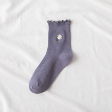 Daisy Embroidery Lettuce Trim Socks