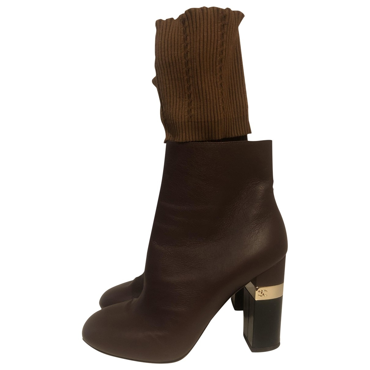 Chanel \N Burgundy Leather Ankle boots for Women 38.5 EU