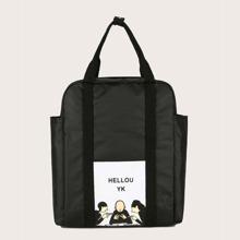 Pocket Side Cartoon Graphic Backpack
