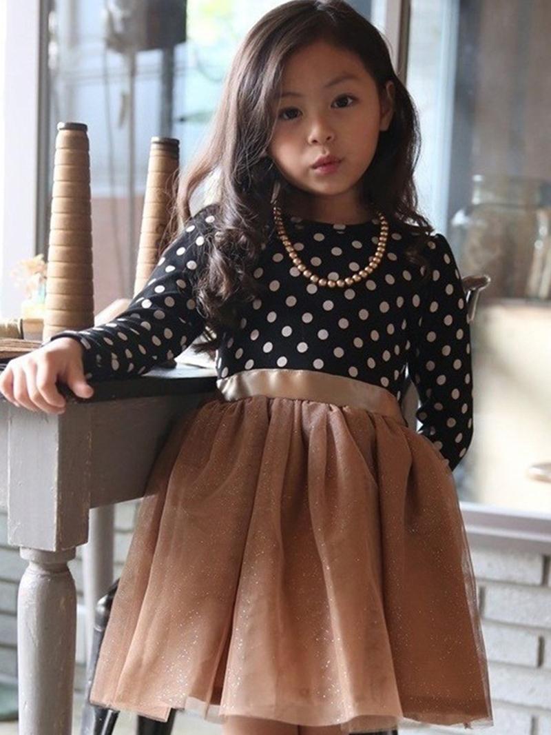 EricdressPolka Dots Mesh Ball Gown Girl's Dress