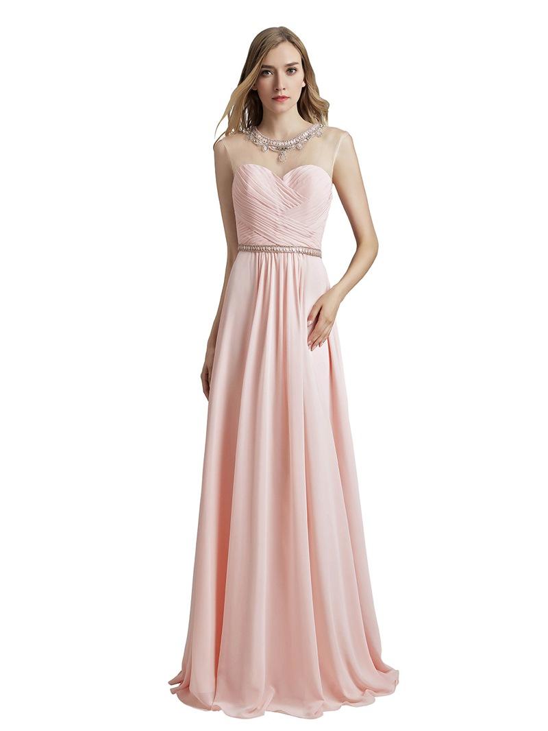 Ericdress Floor-Length Scoop Pick-Ups Prom Dress