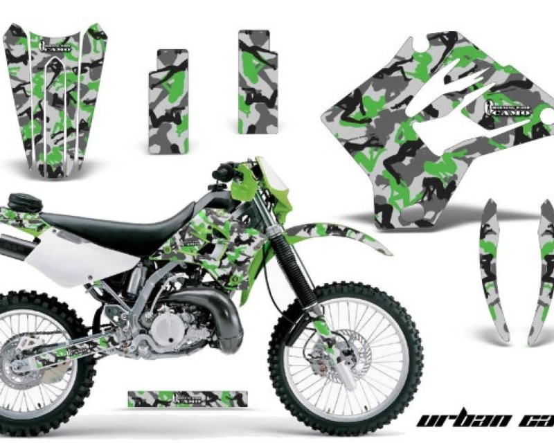 AMR Racing Dirt Bike Graphics Kit Decal Sticker Wrap For Kawasaki KDX200 1995-2006 URBAN CAMO GREEN