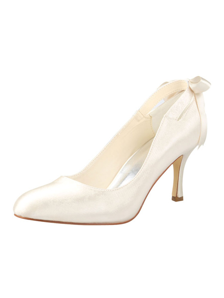Milanoo High Heel Wedding Shoes Satin Pointed Toe Bow Slip On Bridal Shoes