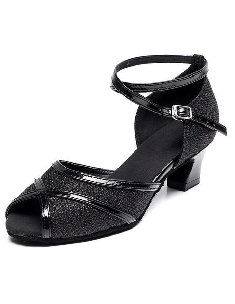 Milanoo Peep Toe Latin Dance Sandals Black Straps Glitter Heels for Women