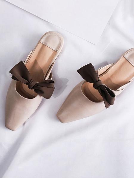 Milanoo Women Flat Mules PU Leather Square Toe Bow Slip-On Slide Shoes