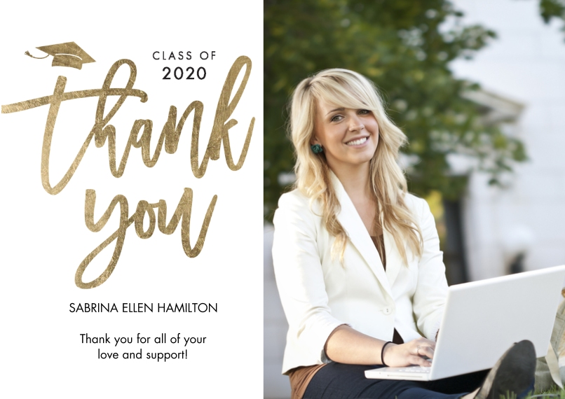 Graduation Thank You Cards Flat Glossy Photo Paper Cards with Envelopes, 5x7, Card & Stationery -Grad Thank You 2020 Classic by Tumbalina