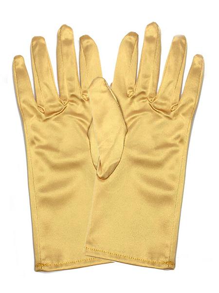 Milanoo Short Gloves Wedding Bridal Fingertip Wrist Length Satin Party Gloves