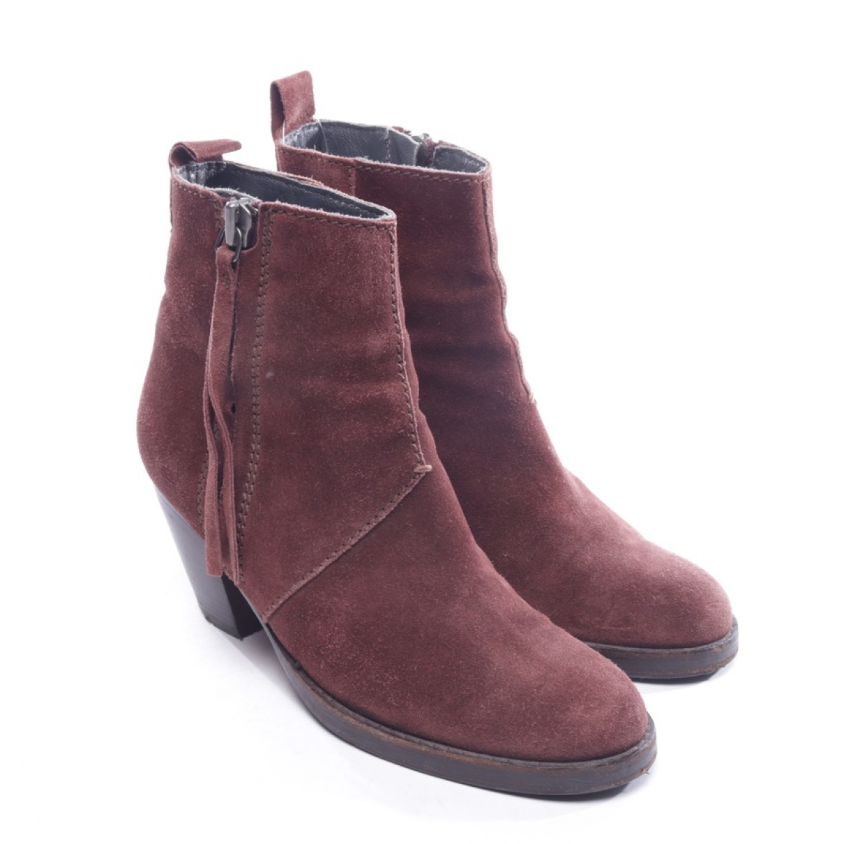 Acne Studios \N Burgundy Suede Ankle boots for Women 37 EU