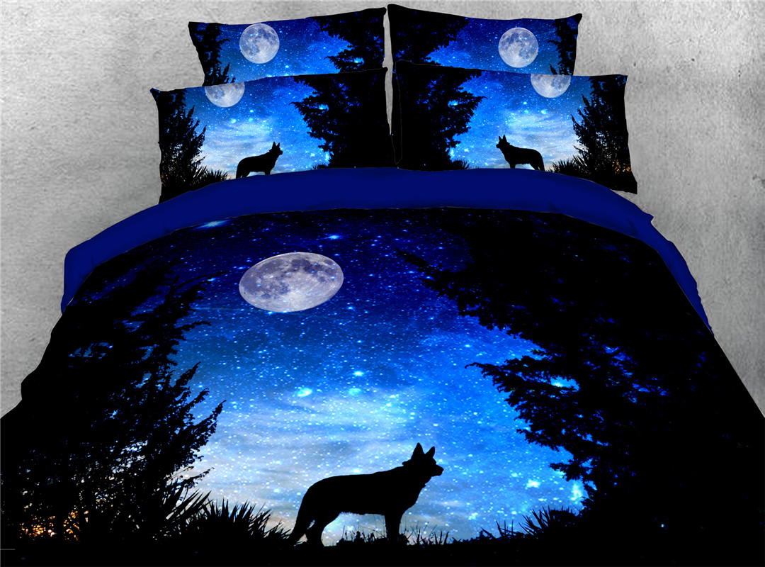 Wandering Wolf Duvet Cover Set Hand Wash Four-Piece Set Polyester Bedding Sets