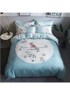 Bird and Flower Light Green Polyester 4-Piece Bedding Sets/Duvet Cover