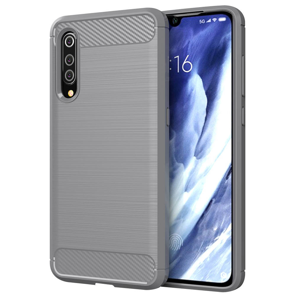 Makibes Carbon Fiber Texture Anti-fall Soft TPU Phone Case For Xiaomi Mi 9 Pro 5G Protective Back Cover - Grey