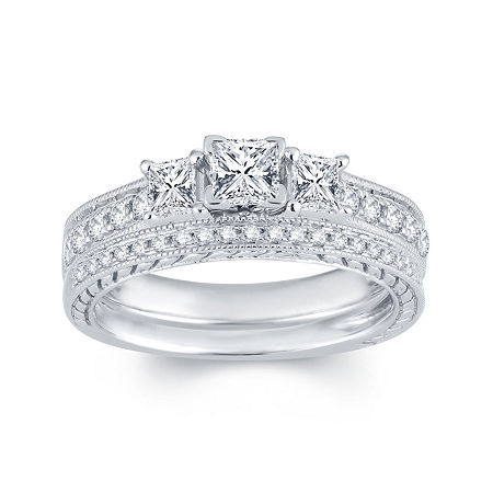 1 CT. T.W. Diamond 14K White Gold 3-Stone Bridal Ring Set, 9 , White