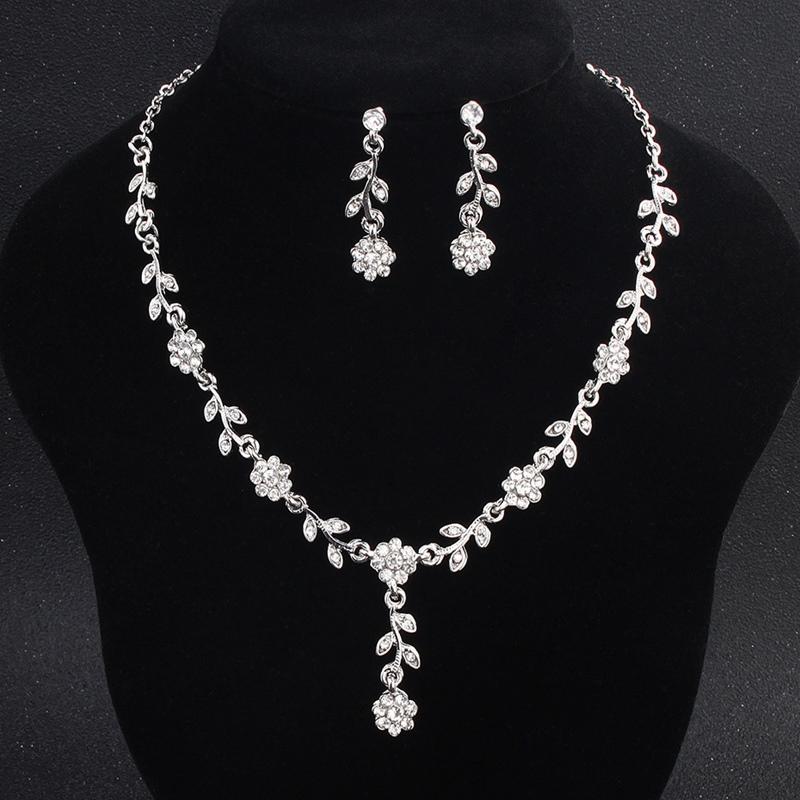 Floral Gemmed Necklace Jewelry Sets (Wedding)
