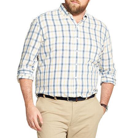 IZOD Big and Tall Plaid Button-Down Shirt, 3x-large , Yellow