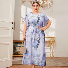 Plus Petal Sleeve Belted Floral Print Dress