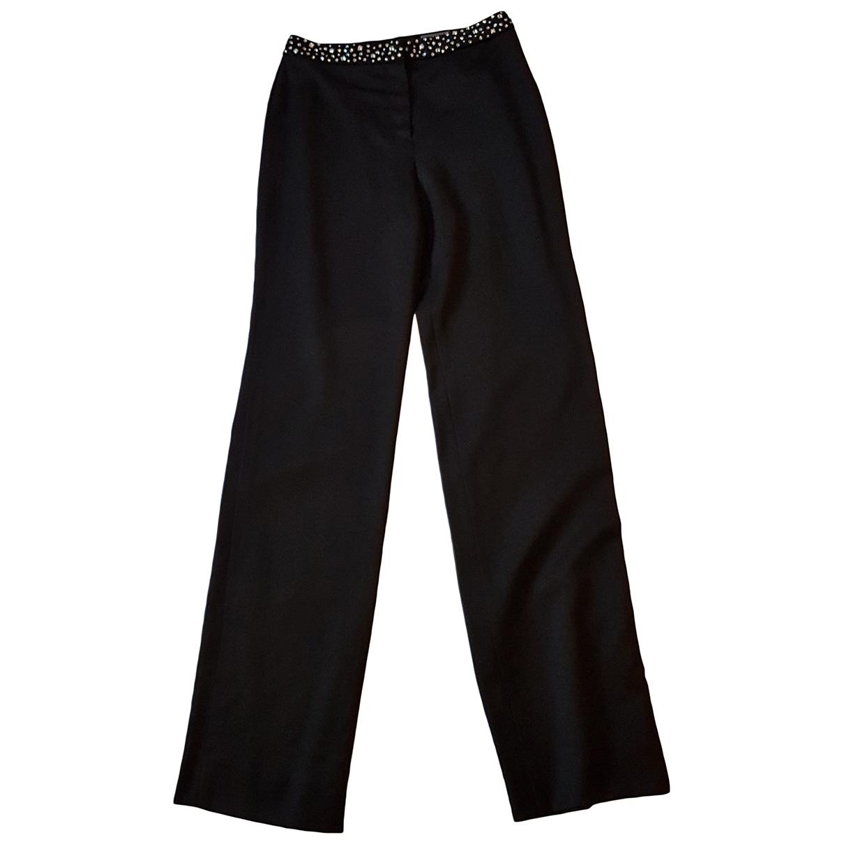 Gianni Versace \N Black Wool Trousers for Women 40 IT