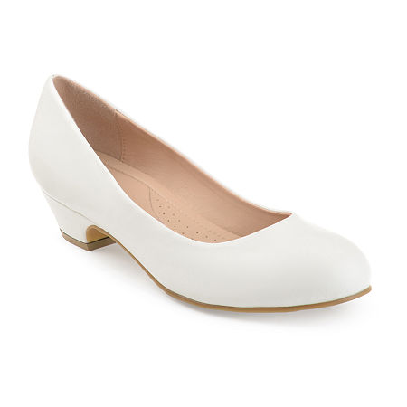 Journee Collection Womens Saar Pumps Block Heel, 5 1/2 Medium, White