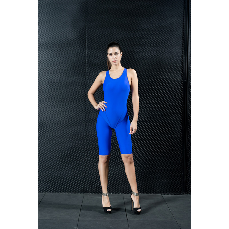 Sexy Tight Backless One Piece Blue Black Women' s Swimwear