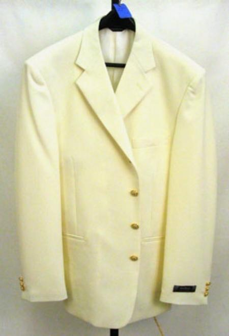 3 buttons Notch Lapel Off White~Ivory Mens Dress Blazer