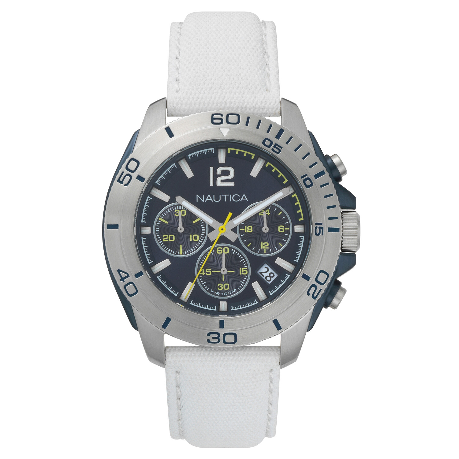 Nautica Watch NAPADR002 Andover Chronograph, Water Resistant, 24 Hour Time, Calendar, White