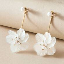 1pair Pearl Decor Floral Drop Earrings