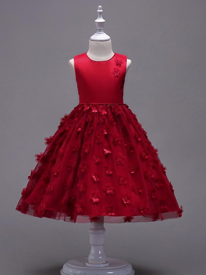Ericdress Solid Color Appliques Patchwork Mesh Girl's Princess Dress