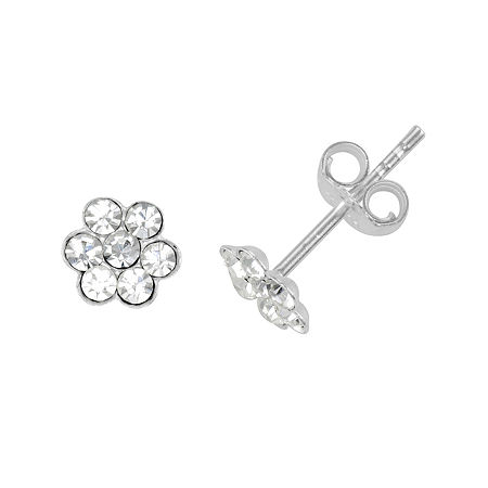 itsy bitsy Crystal Sterling Silver Flower Stud Earrings, One Size , No Color Family
