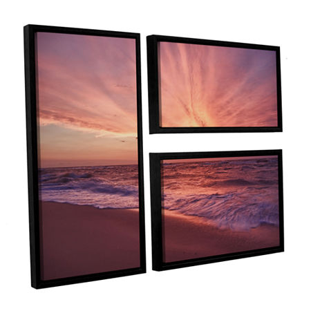 Brushstone Outer Banks Sunset III 3-pc. Flag Floater Framed Canvas Wall Art, One Size , Pink