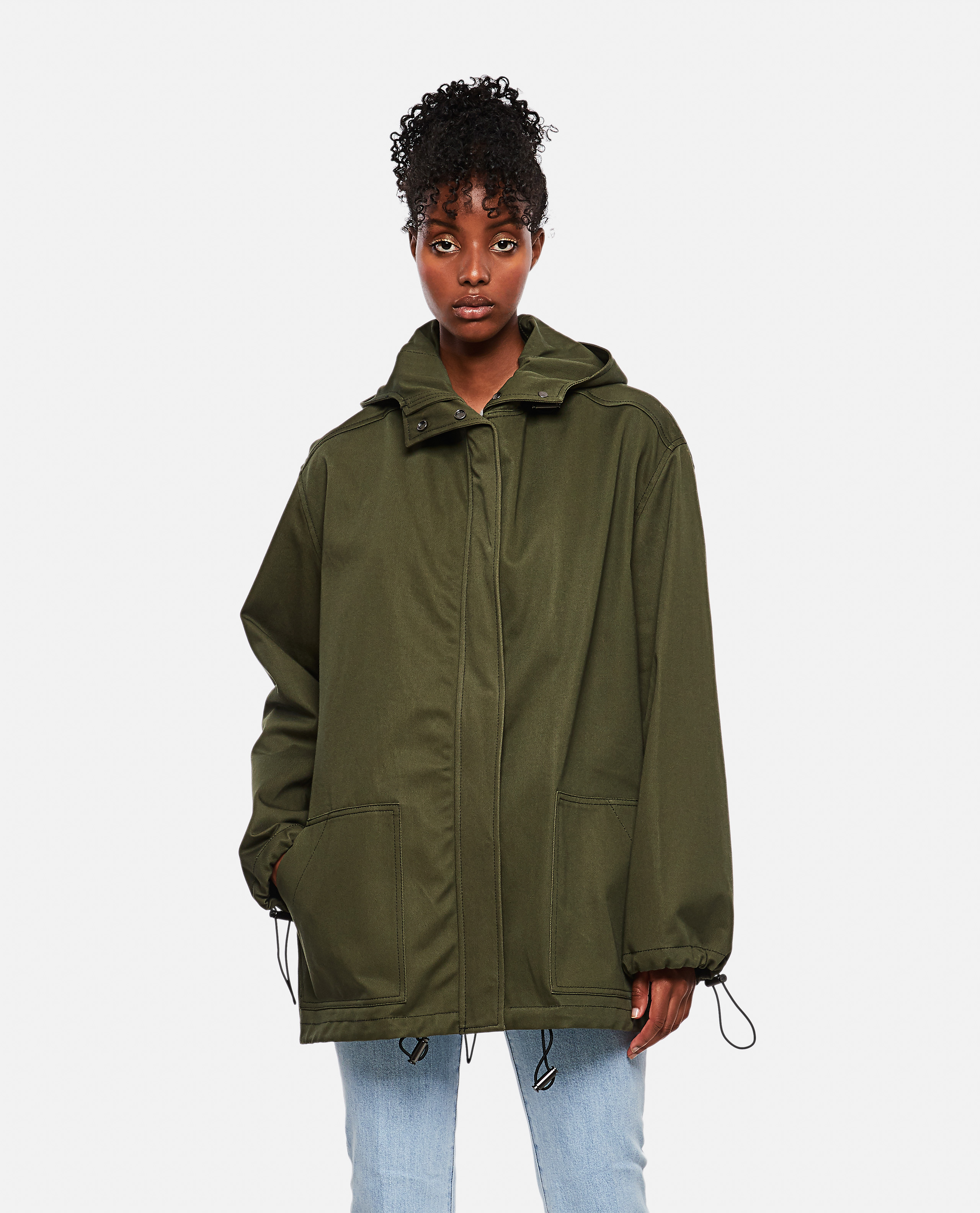 Short cotton parka with hood