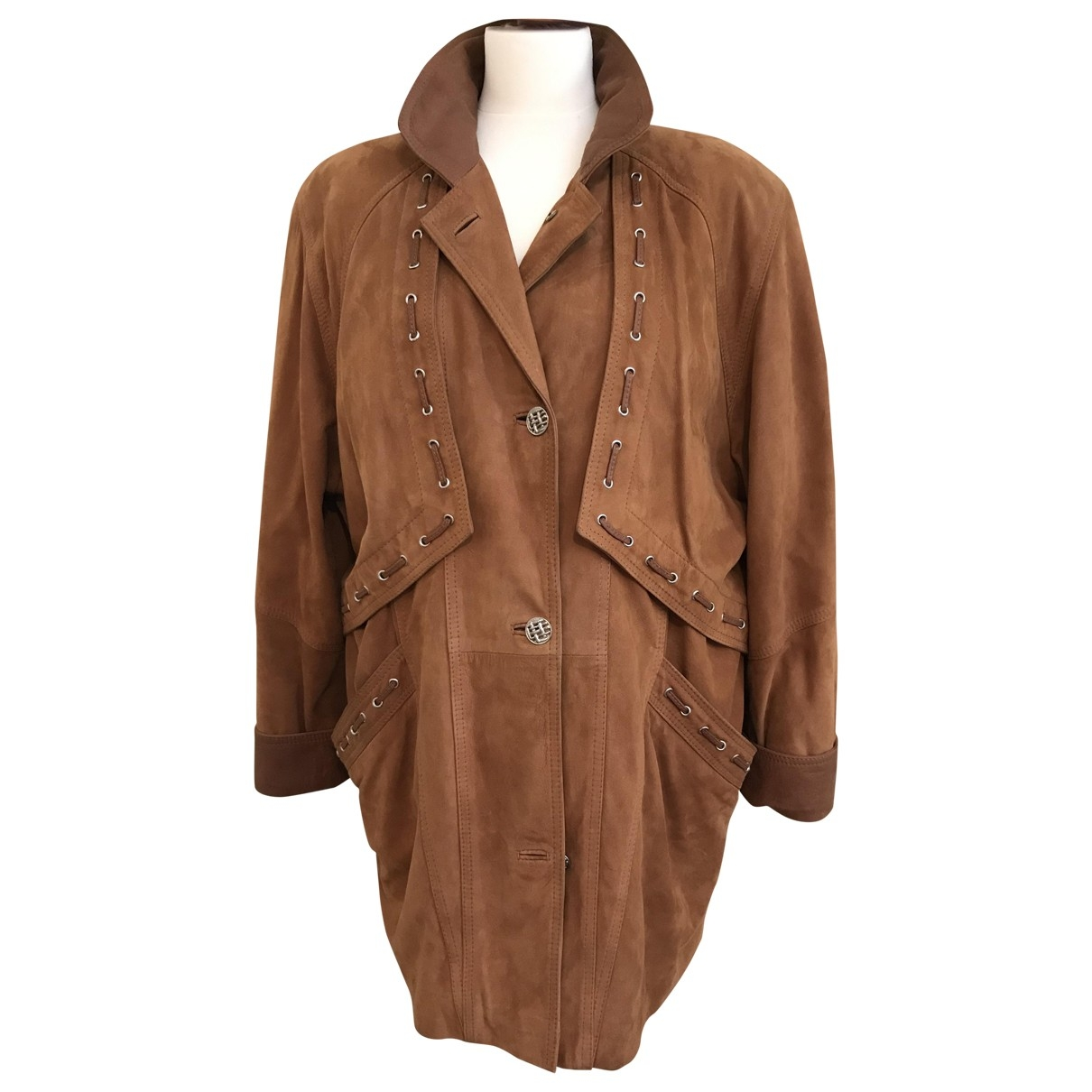 Non Signé / Unsigned Oversize Camel Leather coat for Women 40 FR
