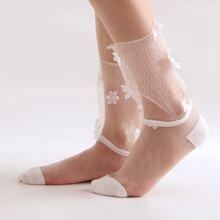 Floral Applique Decor Mesh Socks