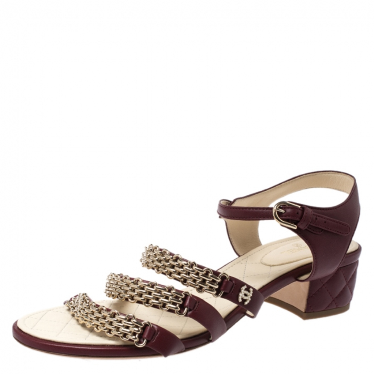 Chanel \N Burgundy Leather Sandals for Women 10.5 US