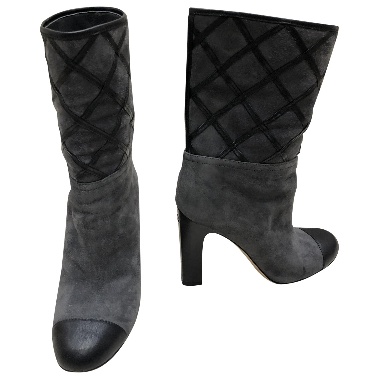 Chanel \N Grey Suede Boots for Women 37 EU