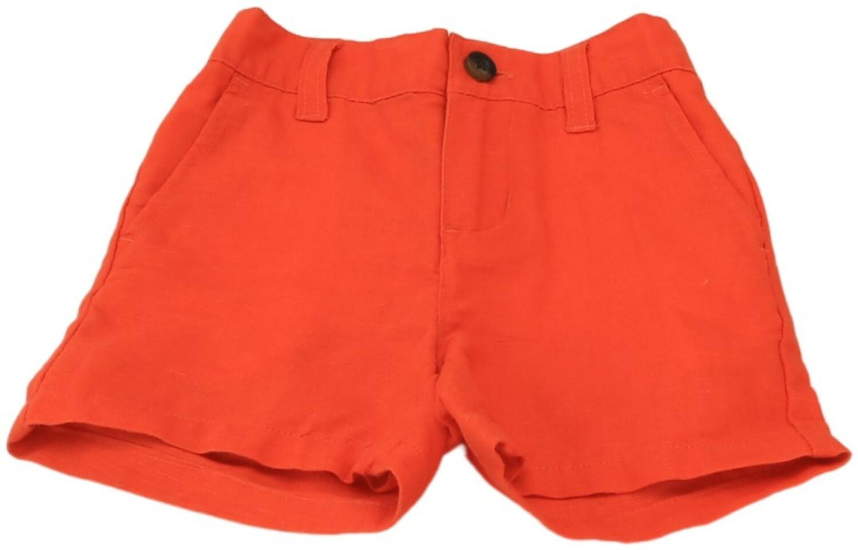 Janie And Jack Boy's Linen Short - 12-18 Months - Orange
