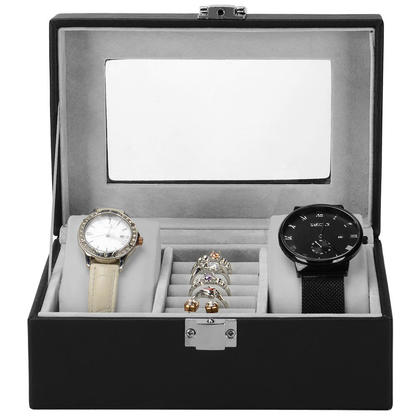Portable Small Watch Box, 3 Grid Black PU Leather Watch Jewelry Storage Vintage Style - SortWise™