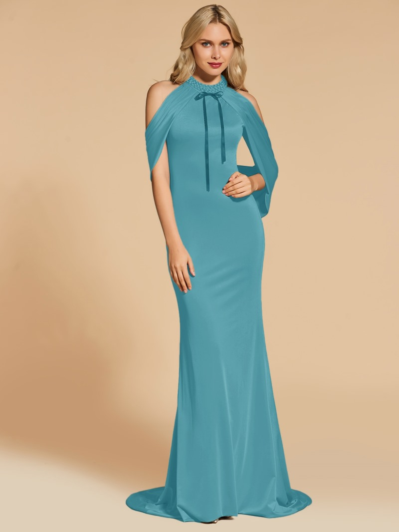 Ericdress Beaded Jewel Neck Mermaid Evening Dress With Sweep Train