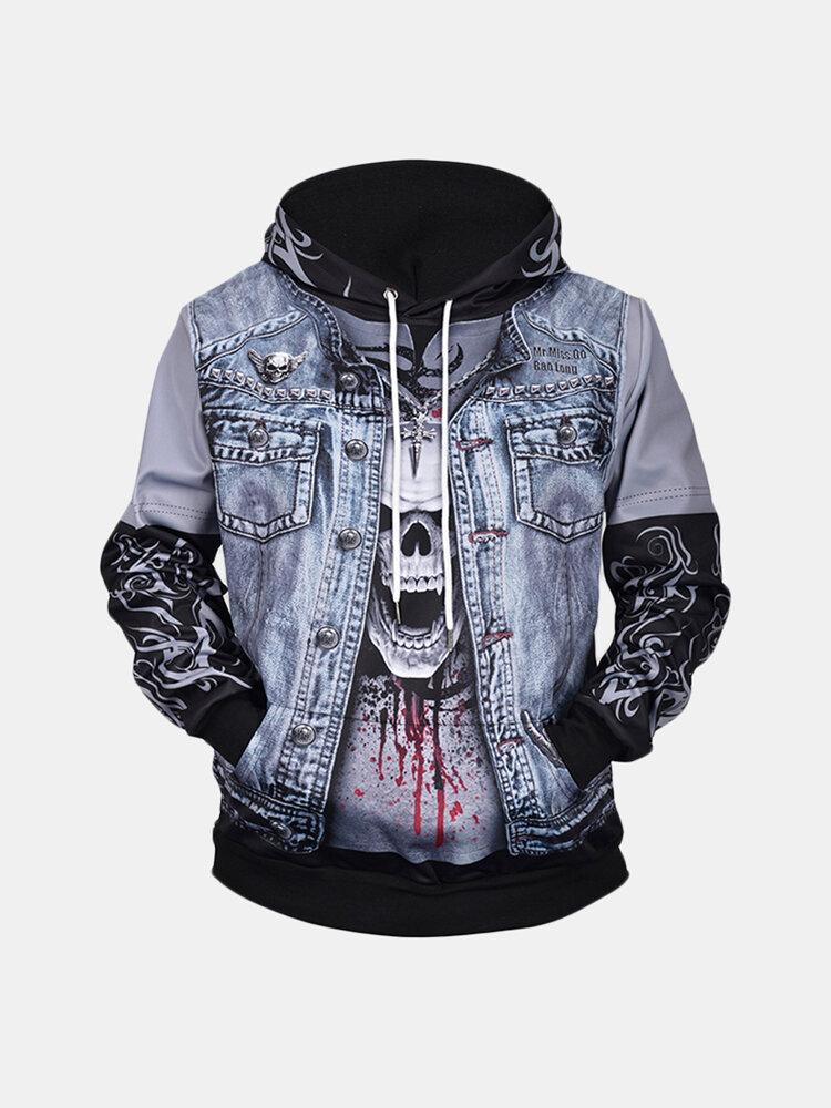 Mens Skull Denim 3D Print Drawstring Hoodies Casual Plus Size Loose Sweatshirt