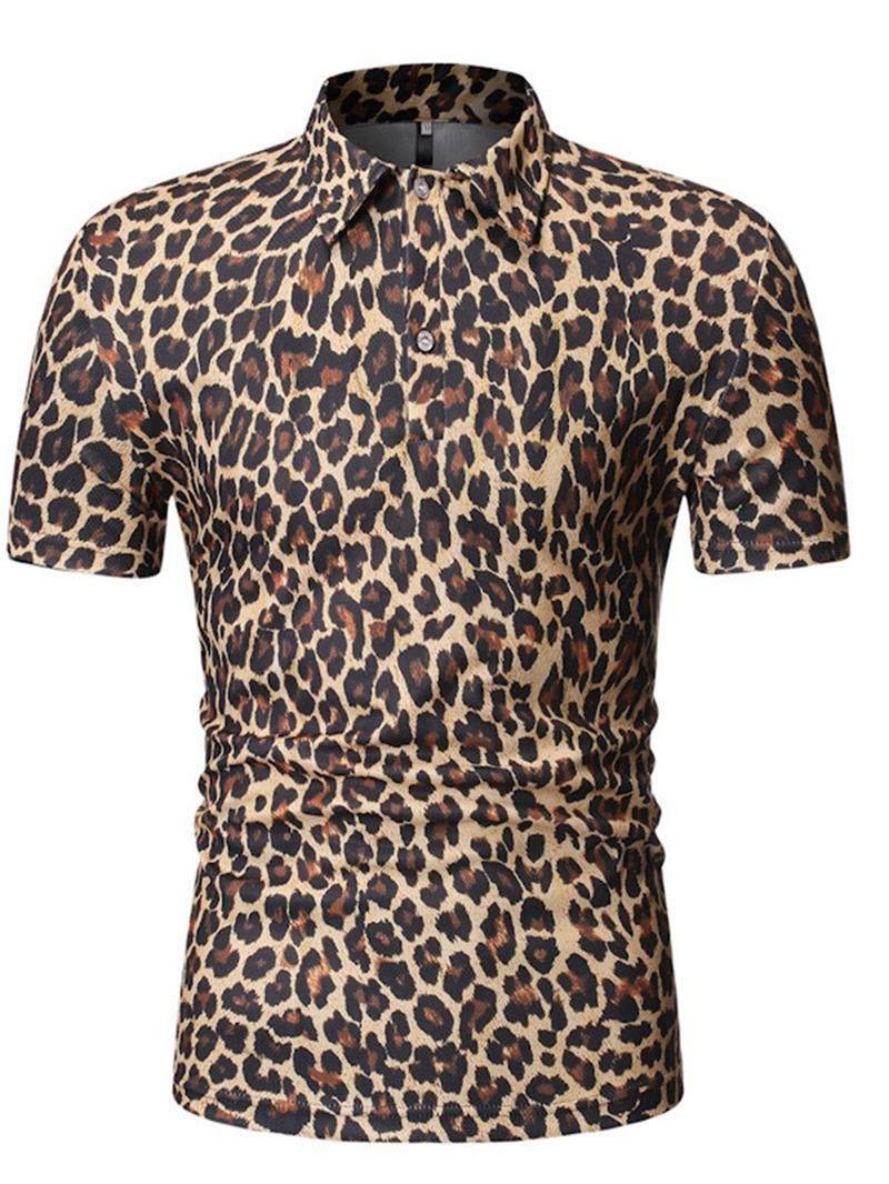 Ericdress Casual Leopard Button Mens Polo Shirt