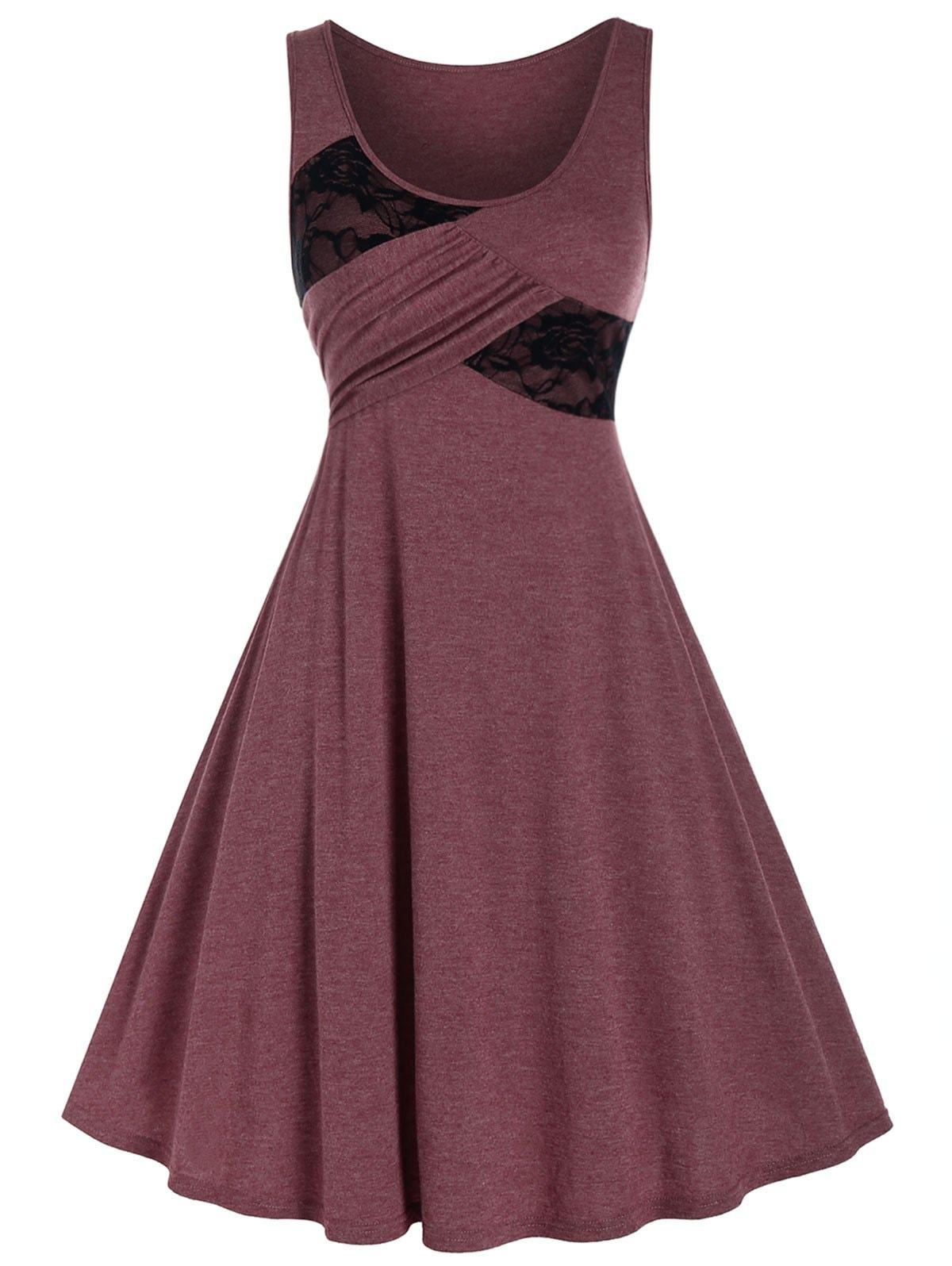 Plus Size Lace Panel Asymmetry A Line Dress
