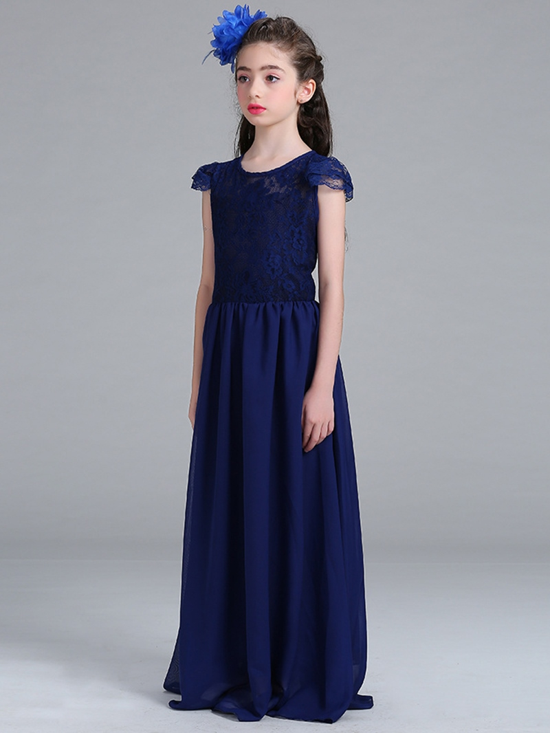 Ericdress Lace Patchwork A-Line Girls' Maxi Dress
