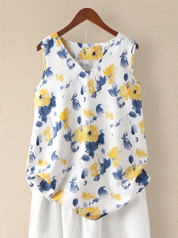 Ink Floral Print Sleeveless V-neck Tank Top For Women