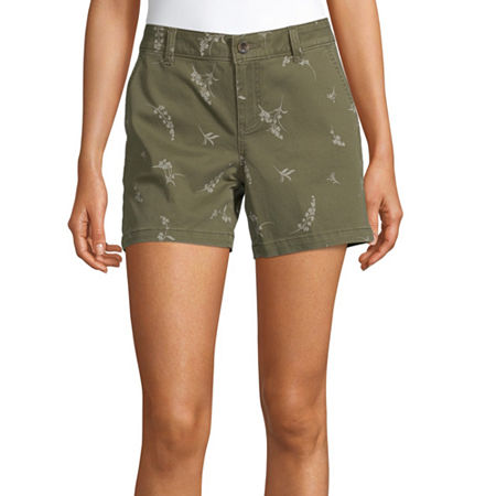 a.n.a Womens Mid Rise Chino Short, 6 , Green
