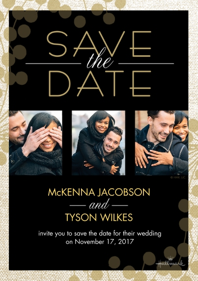 Save the Date 5x7 Cards, Premium Cardstock 120lb with Scalloped Corners, Card & Stationery -Black and Gold Save the Date Photo