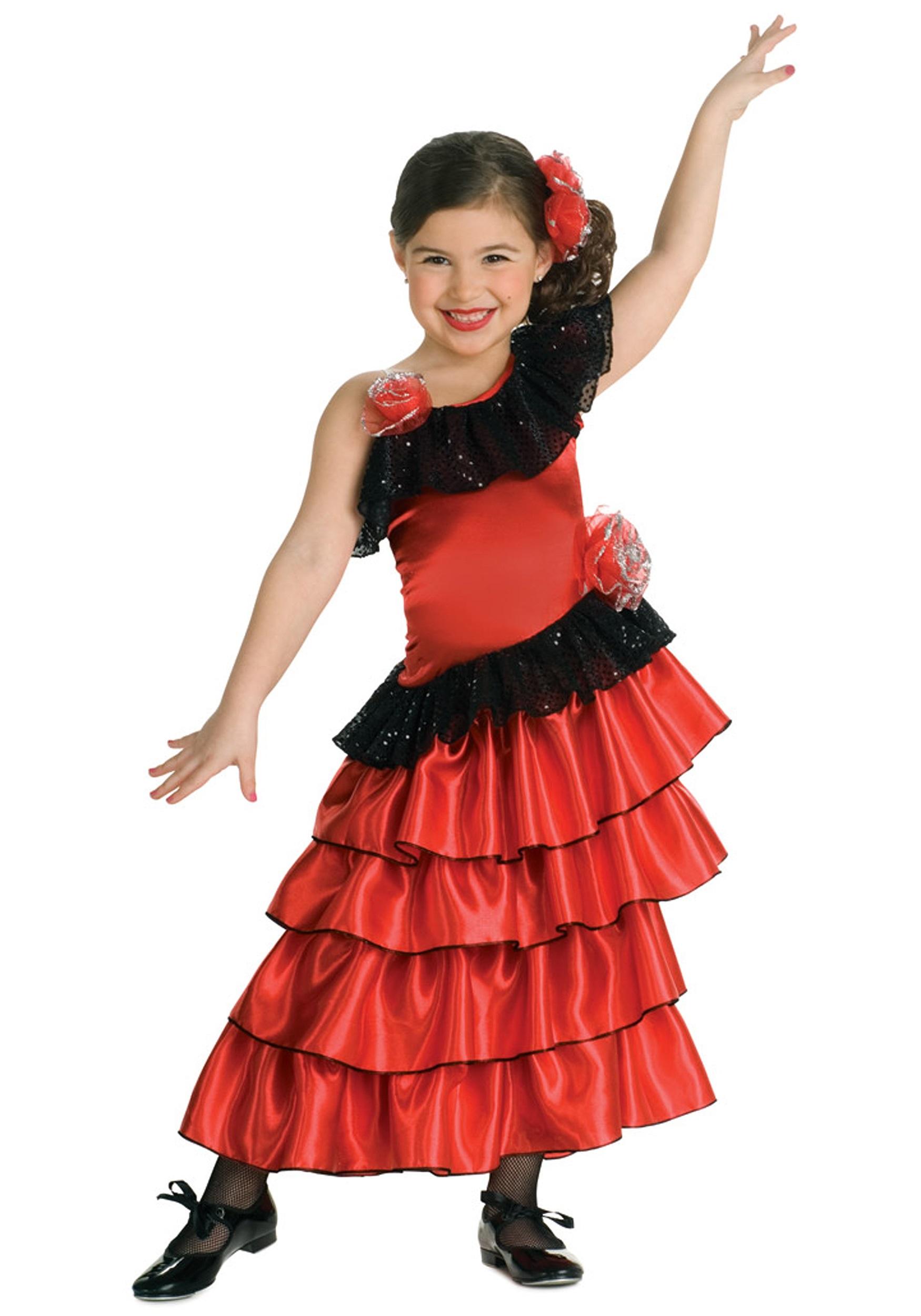 Spanish Flamenco Dancer Costume For Kids