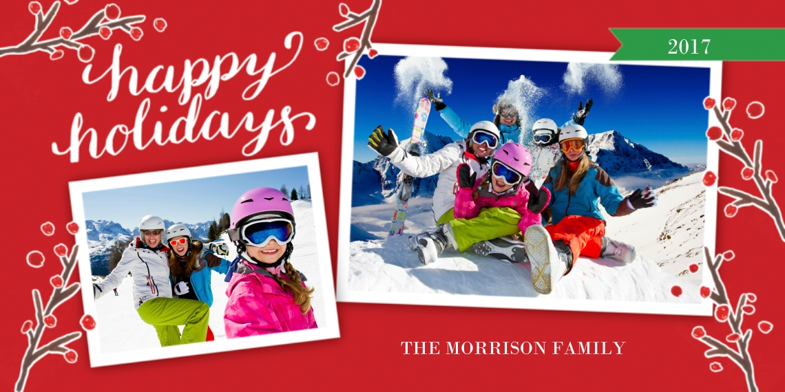 Holiday Photo Cards Flat Matte Photo Paper Cards with Envelopes, 4x8, Card & Stationery -Holiday Red Berries