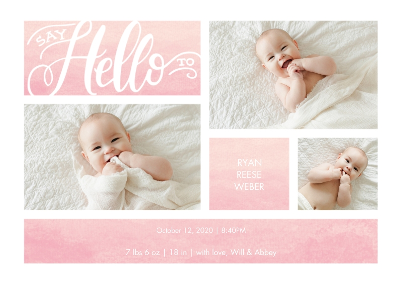 Baby Announcements 5x7 Cards, Premium Cardstock 120lb with Scalloped Corners, Card & Stationery -Baby Watercolor Hello by Tumbalina