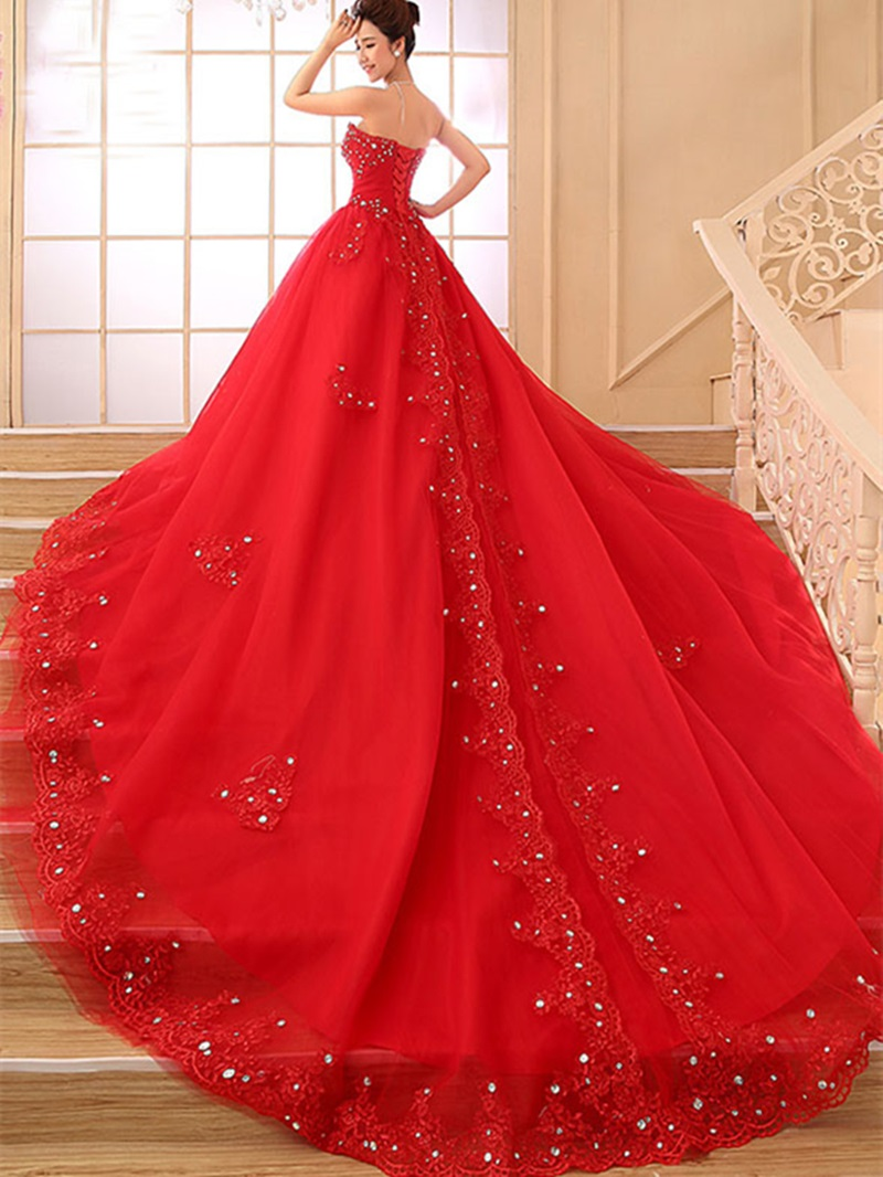 Ericdress Beading Appliques Red Wedding Dress
